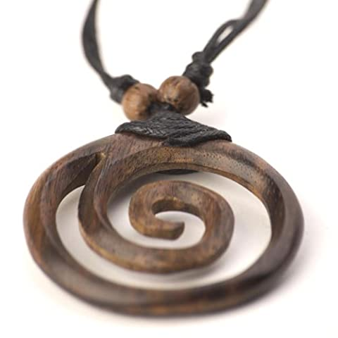 81stgeneration Women's Men's Wood Brown Spiral Round Tribal Adjustable Pendant Necklace