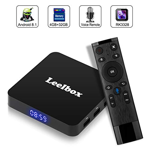 TV Box Android 8.1, Android Box con Mando Inteligente, Leelbox Q4 RK3328 Quad Core 64 bit 4 GB RAM 32 GB ROM Smart TV Box, 2.4G Wi-Fi, HDMI, Box TV UHD 4K TV
