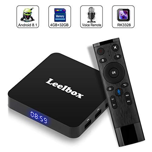 Android 8.1 TV BOX, Android Box con telecomando vocale, Leelbox Q4 RK3328 Quad Core 64 bit 4 GB RAM 32 GB ROM Smart TV BOX, Wi-Fi integrato, Uscita HDMI, Box TV UHD 4K TV