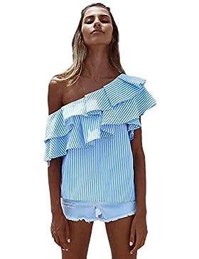 Sannysis Damen Lose Tops Bluse Hemd Sommer Beiläufig Gestreift T-Shirt
