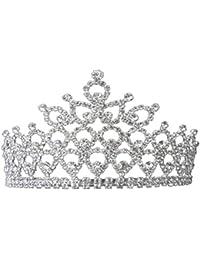 FENICAL Elegante Nupcial Peine Corona melocotón corazón Moda Rhinestone Tocado de Cristal Peine Sombreros Accesorio para el Cabello
