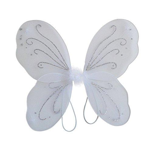 EFINNY Mädchen Bunter Flügel Prinzessin Schmetterling Zauberfee Partei Halloween gillter Geburtstag Cosplay Zubehör Eine Größe Weiß