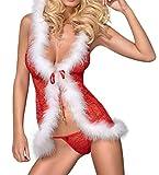 Selente luxuriöses mehrteiliges Damen Wäsche-Set in extravagantem Weihnachts-Design, mit exklusiver Satin-Augenbinde Made in EU, Kapuzenbabydoll-Tanga, Gr....