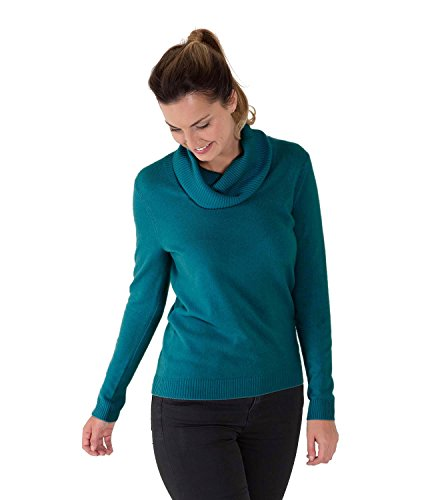 WoolOvers Pull à col boule - Femme - Cachemire Teal