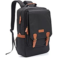 Zaino per Laptop, Evecase 17.3 pollici Multi-Funzione Briefcase Borsa a Tracolla Computer, Notebook, MacBook Pro Air, Chromebook – Nero/Marrone Fibbia