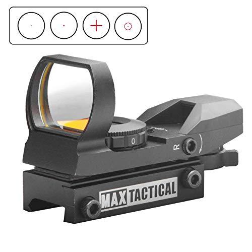 MAX Tactical Red Dot 1 x 22 x 33 Multi-Reticle Leuchtpunktvisier mit Weaver-Montage für Softair- Jagd- und Sportwaffen