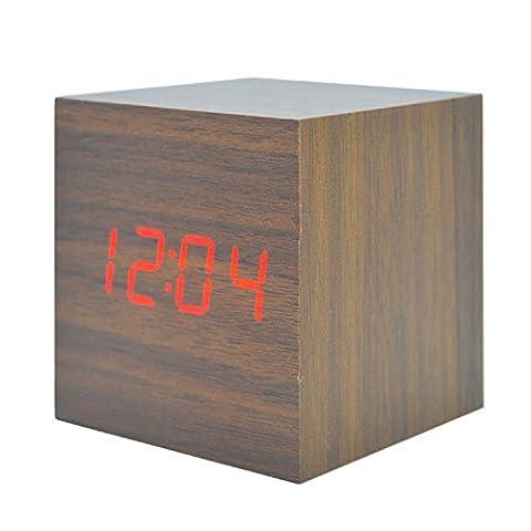 GANGHENGYU LED Réveil en bois Mute numérique Accueil Bureau de voyage Bureau Horloge électronique Fonction de contrôle du son Cadeaux promotionnels (Bois Brun Lumière Rouge)