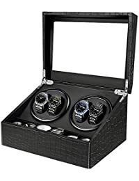 HBselect Automatic Watch Winder Box with 4 Watch Winder Positions and 6 Display Storage Spaces for Men and Women Watches