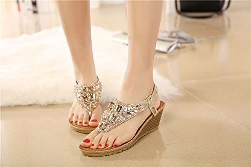 Fortuning's JDS Unique coins mode strass style sandales pour dames Or