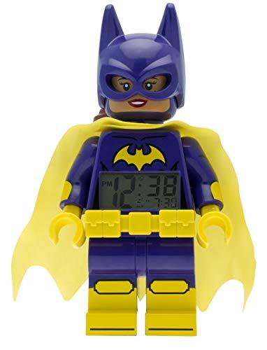 LEGO Batman 9009334 Batgirl Kinder-Wecker mit Minifigur, violett/gelb , Kunststoff , 24 cm hoch , LCD-Display , Junge/ Mädchen , offiziell