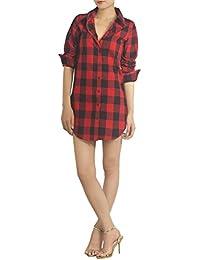 iB-iP Mujer Tela Escocesa Larga Spread cintura Camisa