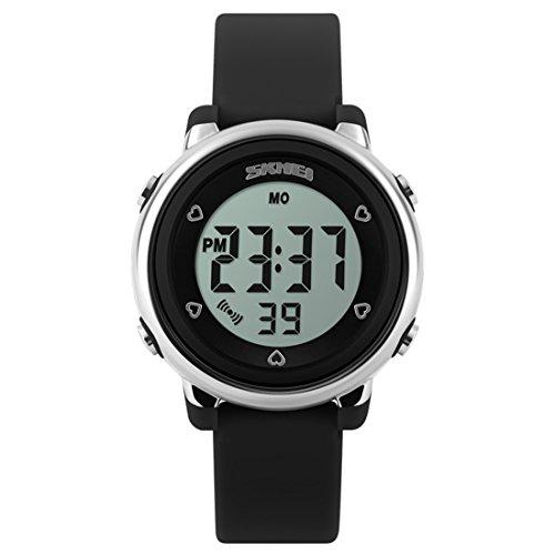 Souarts Kinder Sport Digitaluhr LED Beleuchtung Uhr mit Wecker Multifunktion wasserdicht Armbanduhr für Jungen Mädchen Schwarz