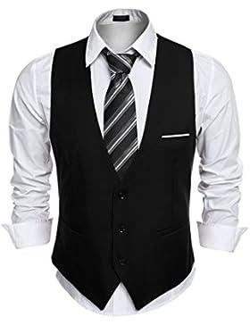 Aulei Herren Anzugweste slim fit stilvolle elegante Weste für Hochzeit Business Fest casual wear