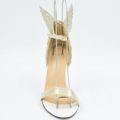 Oasap Women's Butterfly Deco Ankle Strap Buckled Summer High Heel Stilettos ivory