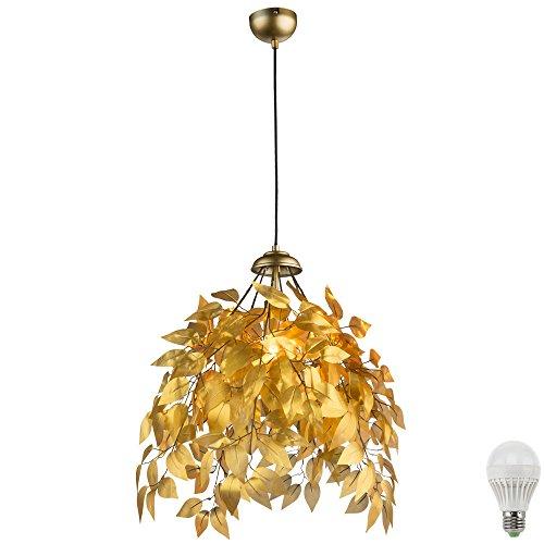 pendel-lampe-blatter-aste-design-gold-farbig-hange-beleuchtung-im-set-inklusive-led-leuchtmittel