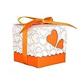 RayMoon Pack of 100 Kreative Herz Form Gastgeschenkbox Kartonage Bonboniere für Hochzeit Geburtstag Orange