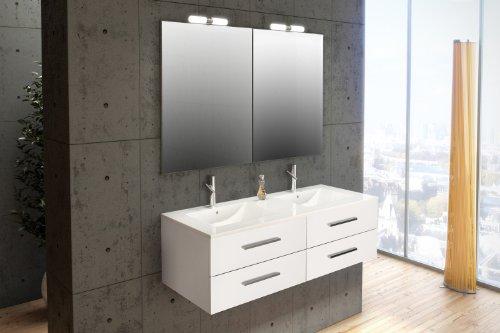 Mennza - Ensemble de salle de bain SÉVILLE meuble suspendu blanc brillant 120 cm