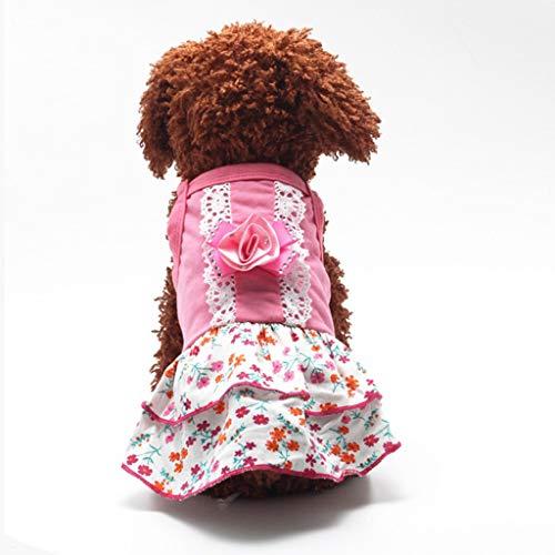QLMS og Rock Sommer dünnen Abschnitt atmungsaktiv niedlich Blumenprinzessin Sling Kleidung Teddybär Xiong Bomei Welpen Kleid (Size : M)