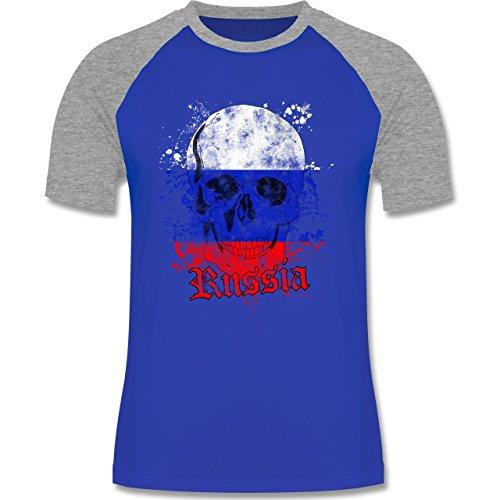 EM 2016 - Frankreich - Russia Schädel Vintage - zweifarbiges Baseballshirt für Männer Royalblau/Grau meliert