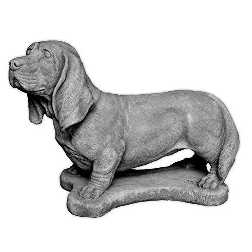 gartendekoparadies.de Massiver Stein Hund lebensgroßer Dackel Rauhaardackel Steinguss frostfest