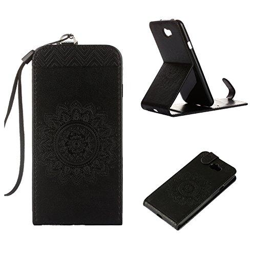 MOONCASE Huawei Y5 II Hülle, Totem Embossed Leder Tasche Magnetisch Schutzhülle Klappetui Case mit Standfunktion für Huawei Y5 II / Y5 2 Schwarz