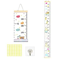 TAZEMAT Kids Height Chart Baby Height Wall Chart Removable Hanging Children Nursery Growth Ruler Portable Waterproof Child Roll-up Measurement Height Record Chart 200 x 20 cm