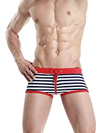 24247189f9 UNDEREGION Red Yellow Turquoise Sailor Striped Mens Tight Swimming Trunks  Hipsters (Large (34 inch