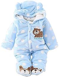 Newborn Unisex Baby Winter Jumpsuit Hooded Romper Fleece Onesie All in One Snow Suit Outfits
