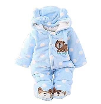 b59c6efb2e49 Newborn Unisex Baby Winter Jumpsuit Hooded Romper Fleece Onesie All ...