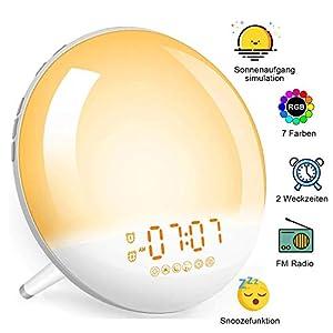 LECLSTAR Lichtwecker, Tageslichtwecker Sonnenaufgang, Wake Up Light mit Radio für Kinder & Erwachsene, Wecker mit Licht…