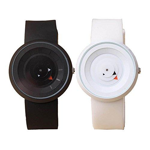 1Paar Harajuku Stil Quarz Handgelenk Uhren Set für Paare Silikon Strap rund Fall–Designer Sport Rad Form Pointers
