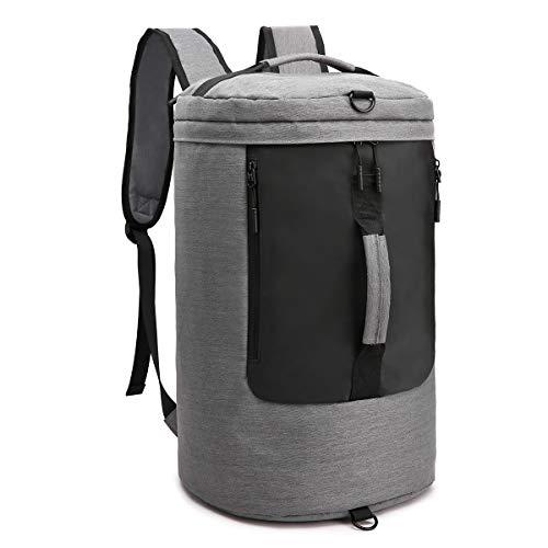 Gepäck Reisetasche Sporttasche Wasserdichte Duffle Bag Leichte Weekender Gym Tasche 3 in 1 Multifunktionale Seesack 34L Barreltasche Handgepäck Umhängetasche 15,6 Zoll Laptop-Ruck mitUSB-Anschluss