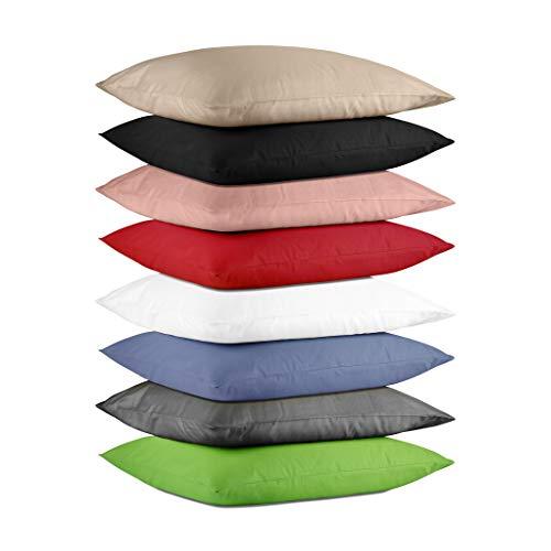 Hometex Premium Textiles 2-er Set Kissenhülle Baumwolle Exklusive | Doppelpack Kissenbezüge ca. 115 g/m² | ÖKO-TEX Standard Kissen-Bezug mit Rei߭verschluss | 2er Set | 40 x 40 cm Grün