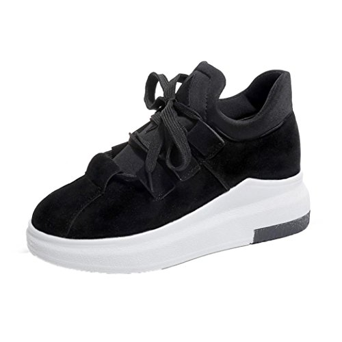 Sneakers Damen Winter Btruely Mädchen Plateauschuhe Mode Freizeitschuhe Schuhe Sportschuhe Damen Laufschuhe (35, Schwarz) (Stiletto Knie Boot)