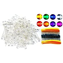 Eastlion 80 LED 5mm Leuchtdioden Dioden rund mit Widerstände 8 color rot,grün,gelb,blau,weiß,orange,rosa,lila