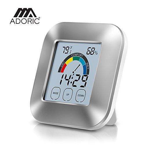 Thermometer-Hygrometer Hygrometer-innen, Adoric Digitales Hygrometer innen Temperaturmesser Luftfeuchtmesser Feuchtigkeit monitor Innenraum luftüberwachung mit Uhr & Timer und intelligentem Berührungsbildschirm