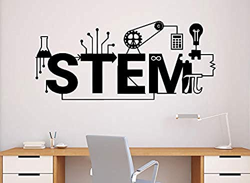 Onlymygod Stem Wandtattoo Wissenschaft Vinyl Aufkleber Wissenschaft Technologie Engineering Mathematik Decor Klassenzimmer Innen 55X52 cm