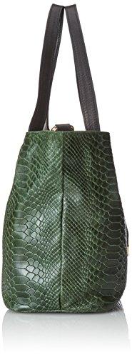 CTM Borsa da Donna a Mano, Bauletto con Stampa Pitonata, 30x24x13cm, Vera Pelle 100% Made in Italy Verde