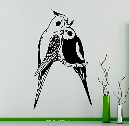 JXND Wandapplikation Papagei Paar Exotische Vogel Vinyl Aufkleber Büro Restaurant Home Wohnzimmer Wohnkultur Tier Art Deco Abnehmbare Wandbild 55x95 cm - Exotische Vinyl