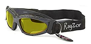 Ray-Zor Masque et Lunettes de Soleil - Multisports - Vtt - Moto - Voile / Mod. Extrem Jaune Clair / Taille Unique Adulte / Pochette Microfibre Incluse / Protection 100% UV400