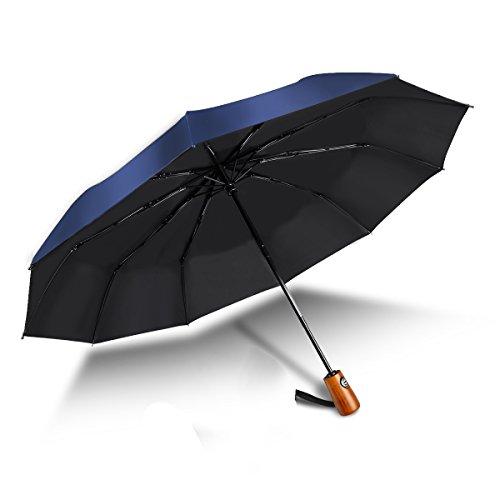 Prueba de Viento Paraguas Abierto Auto Cerrar-210T más Fino Reforzado Compacto Secado Rápido Plegable Recorrido Paraguas 10 Costillas Protección UV Madera Maciza asa para Hombres Mujeres (Azul)