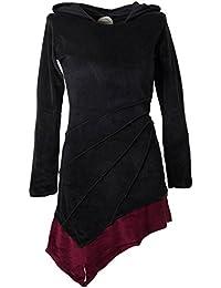 Vishes – Alternative Bekleidung – Asymmetrisches Elfenkleid mit Zipfelkapuze aus Samt