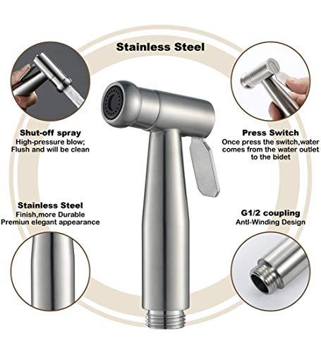 Tuch Windel Sprayer WC Hand Bidet Sprayer Badezimmer Dusche Edelstahl Wasserhahn Shattaf Spray Wasserhahn Tuch Windel Reinigung G1 / 2 Anschlüsse, Chrom - Glas-regal-anschlüsse