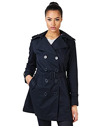 4397-NVY-08: Double Breasted Trench Mac Coat