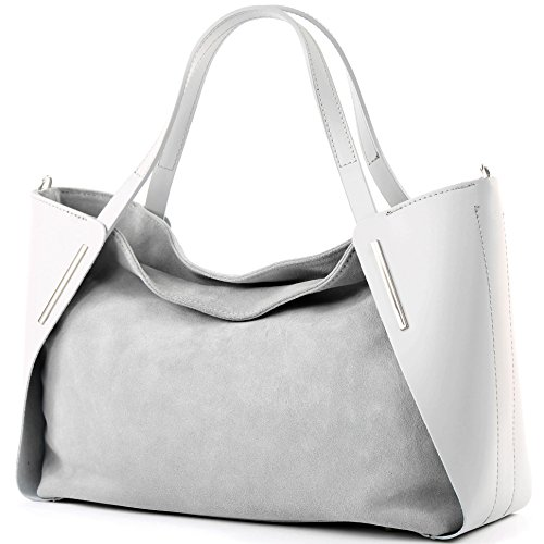Italiana. Borsa donna shopper tracolla borsa tempo libero Business elegante vera pelle camoscio T126 Grigio chiaro