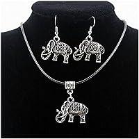 GYJUN Elefant Tier Anhänger Silber Halskette & Ohrringe Schmuck-Set
