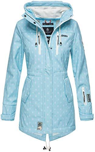 Marikoo Damen Winter Jacke Winterjacke Mantel Outdoor wasserabweisend Softshell B614 (Gr. M/Gr. 38, Hellblau Muster) Blauer Parka