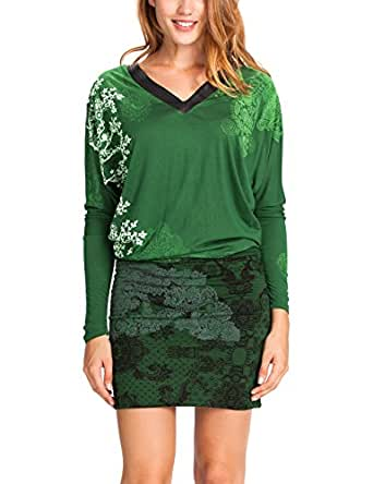 Desigual Women's Kalima Long Sleeve Dress, Verde Bronce, Size 12 (Manufacturer Size:Medium)