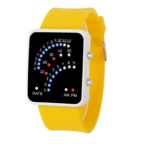 Yogogo Damen Herren Quartz Analog LED Armband, 1 Cent Artikel Armbanduhr | Edelstahlband | Dekoration | Geschenk | Alugehäuse | Quarzwerk | Wasserdicht | Sportuhr | 24cm Bandlänge (Gelb)