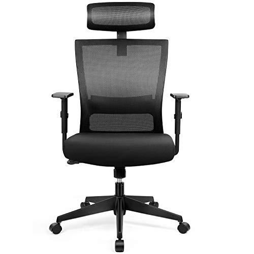 amzdeal Bürostuhl Ergonomischer Chefsessel Computerstuhl Schreibtischstuhl mit Einstellbarer Kopfstütze, Drehstuhl mit Armlehnen und Rückenlehnen